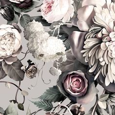Dark Floral II Gray | Floral Wallpaper - Ellie Cashman Design