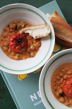 fork and flower: roasted tomatoes and chickpea curry.