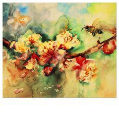 Amando trabalhar com a aquarela – Loving working with watercolor – Carine Quadros