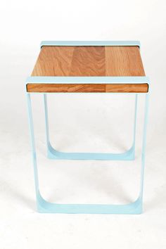 Tang Side table- powdercoated steel and oak