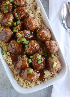 These Teriyaki Meatballs will be a huge favorite with your family. Serve over a bed of hot rice!!