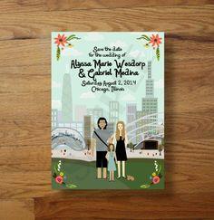 Chicago : Millenium Park : Custom Illustrated Save the Date