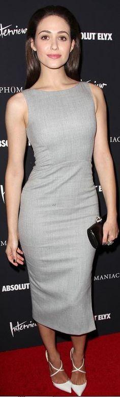 Emmy Rossum: Dress – Altuzarra  Shoes – Christian Louboutin  Purse – Rodo  Jewelry – House of Lavande