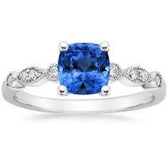 Blue Sapphire Tiara Engagement Ring - 18K White Gold