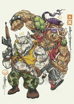 TMNT , Rocksteady and  Bebop