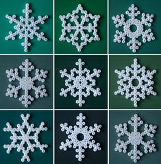 Make your own snowflake Christmas decorations with white hama beads -a great weekend crafting project with the kids. Hama Beads Design, Hama Beads Patterns, Perler Bead Ornaments Pattern, Beading Patterns Free, Peyote Patterns, Snowflake Craft, Snowflake Pattern, Snowflake Ornaments, Snowflake Designs