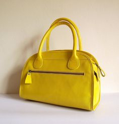 Yellow leather handbag Yellow Leather f15018a852d0