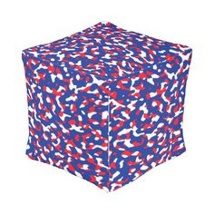 Patriotic Assembly Camouflage - Rasha Stokes Outdoor Pouf - white gifts elegant diy gift ideas