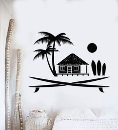 Vinyl Wall Decal Surfing Beach House Palm Ocean Stickers (ig4244)
