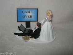 Humorous Wedding Game Over Laptop Computer Geek Groom Cookies Cake Topper | eBay