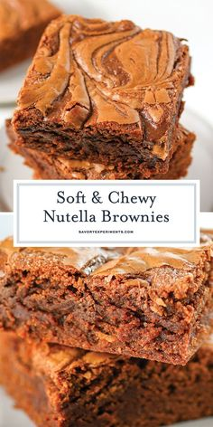 What's better than chewy, gooey brownies? Well, these Nutella flavored chewy, gooey brownies with a delicious crackling top! The BEST brownie recipe! Gooey Brownies, Nutella Brownies, Homemade Brownies, Bacon Brownies, Easy Brownies, Healthy Brownies, Caramel Brownies, Easy Desserts, Delicious Desserts