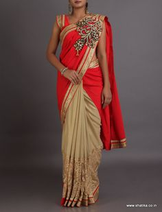 Avani Broach Patterned Pleated Pallu #DesignerLehengaSaree