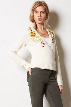 this reminds me of my ultra favorite sweater of all time from last year, but it isn't as fabulous or cozy looking.  Mabyn Embroidered Cardigan #anthropologie