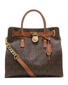 Michael Kors Hamilton Large MK Logo Tote Bag, Brown [MK-259] - $59.00 :