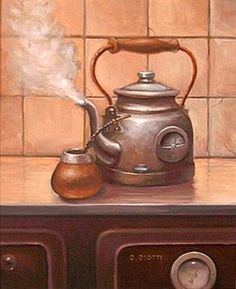 Polly, put the kettle on. Decoupage Vintage, Decoupage Paper, Old Kitchen, Kitchen Art, Kitchen Images, Coffee Artwork, Tea Art, Country Art, Kettle