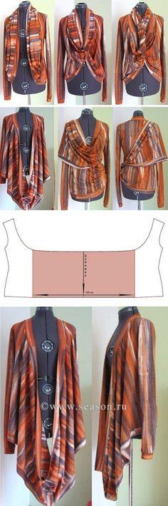 Por las manos (la Obra, la Costura, el Patrón) Es modelado kardigan - transformer