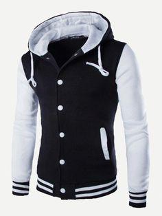 Nueva chaqueta de béisbol con capucha hombres 2015 diseño moda negro Mens  Slim Fit chaqueta del equipo universitario de la marca con estilo de la ... caf93b51bb67