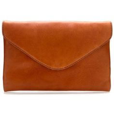 J.Crew Invitation clutch (32.195 HUF) ❤ liked on Polyvore featuring bags, handbags, clutches, purses, accessories, leather handbags, leather clutches, brown leather handbags, genuine leather purse and brown envelope clutch