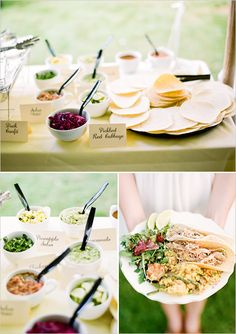 Looking for a different twist on your wedding meal, why not try a gourmet taco bar?... Sooo cool!  Mason Jar mugs, too!