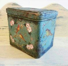Antiquated rusted tin box , I did some decoupage and decorative painting on this tin box and then antiquated it with fake rust