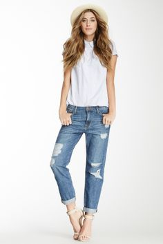 "Fun #outfit for #Spring! Did you notice how popular ""Boyfriend Ripped Denim"" has become for the season?"