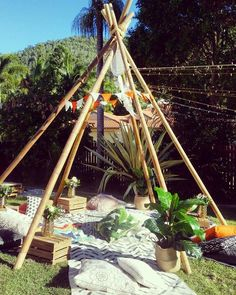 This Boho party could be the inspiration for your next girls night in. Imagine lounging under our Naked Bamboo Teepee and a sky full of fairy lights. 15th Birthday Party Ideas, 15 Birthday, Birthday Parties, Summer Events, Summer Parties, Teepee Party, Debut Ideas, Outdoor School, House Party
