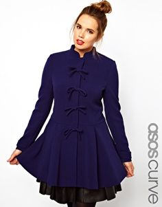 ASOS CURVE Coat With Cute Bow Front