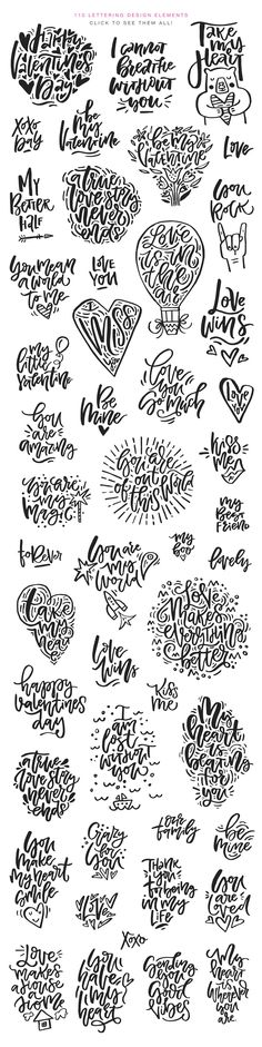 Valentine's Day Lettering Pack by Favete Art on @creativemarket