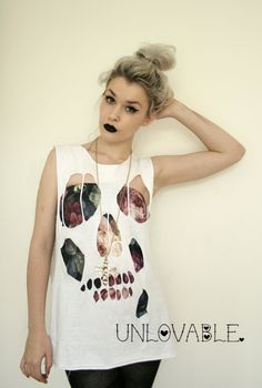bf58c11842175b Image of Skull cut out distressed tshirt vest.