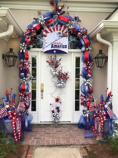 Wow, what a festive, patriotic front door and decorated urn display. Wow, what a festive, patriotic front door and decorated urn display. Fourth Of July Decor, 4th Of July Celebration, 4th Of July Decorations, 4th Of July Party, July 4th, 4th Of July Wreaths, Holiday Decorations, Holiday Ideas, Memorial Day Decorations