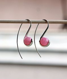 Pink Chalcedony Open Hoop Sterling silver long earrings