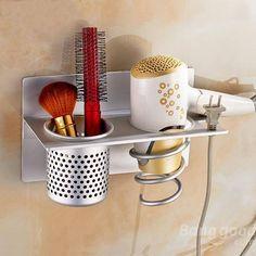 Wall Mounted Aluminum Hair Dryer Holder Rack Bathroom Sundries Stand Set Storage Organizer