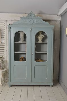 #letstrove This ornate top Dutch Linen Cupboard, or Display Cabinet, has plenty of rustic charm and is perfect for storing all your wares!  We've painted in Farrow & Ball Oval Room Blue. https://www.thetreasuretrove.co.uk/kitchen-storage/ornate-shabby-chic-2-door-linen-cupboard-display-cabinet #ovalroomblue #blue #rustic #shabbychicfurniture #shabbychic #vintagefurniture