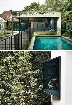 Windows protrude on an angle enabling wedge-shaped window seat to be included in the house design. Landscape Design, Garden Design, House Design, Australian Homes, Reading Room, Window Design, Design Firms, Architecture Design, Interior Decorating