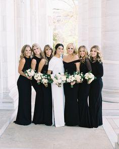 Mix Match Bridesmaids, Black Bridesmaids, Mismatched Bridesmaid Dresses, Black Bridesmaid Dresses, Bridal Gowns, Wedding Gowns, Wedding Themes, Wedding Photos, Fairy Wedding Dress