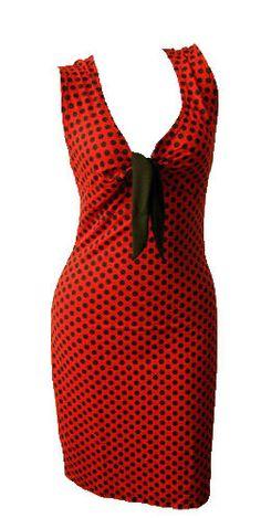 545f20710dab New 50s Pencil Wiggle Retro 40s Rockabilly Pinup Red Black Polka Dot Shift  Dress