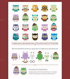Owls Clip art/Owls Mascot Kit by Manudesign on @creativemarket