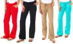 Groupon - Women's Soft Summer Linen Pants in [missing {{location}} value]. Groupon deal price: $21.99