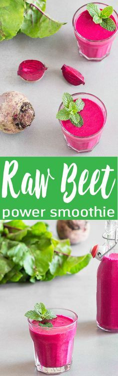 A rich, creamy, refreshing, and energizing raw beet raspberry power smoothie packed with nutritious ingredients. No added sugar. Healthy Smoothies to Try #smoothies #weightloss #healthy