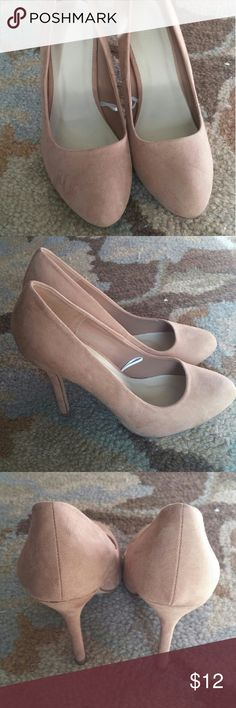 Forever 21 fabric heels sz 10 Suede like fabric shoe. Have not been worn. 4.5 in heel. One spot on left heel. See picture. Forever 21 Shoes Heels