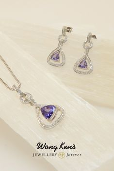 Necklace and earrings are white gold set with tanzanite and diamonds. Gems Jewelry, Jewelry Crafts, Fine Jewelry, Tanzanite Necklace, Ring Watch, Quality Diamonds, Gold Set, Gem S, Custom Jewelry