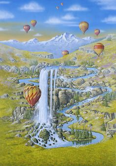 Waterfalls - art by Bjorn Richter Illusion Kunst, Illusion Art, Fantasy Kunst, Fantasy Art, Magic Realism, List Of Artists, Japanese Artists, Whimsical Art, Costumes