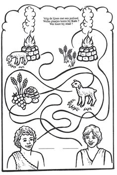 Bible Story Crafts, Bible School Crafts, Bible Crafts For Kids, Bible Lessons For Kids, Sunday School Activities, Sunday School Crafts, Bible Coloring Pages, Monster Coloring Pages, Kain Und Abel