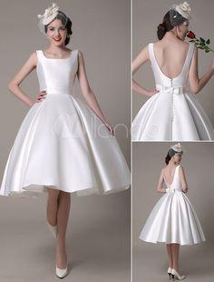 Vestido de noiva cetim do Marfim casamento vestido Scoop Backless do joelho-comprimento