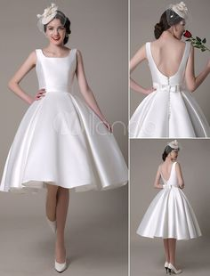 Ivory Wedding Dress Scoop Backless Knee-Length Satin Wedding Gown
