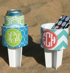 TWO Monogrammed Beach Drink Holders Sand Spiker with Vinyl Wrap Personalization