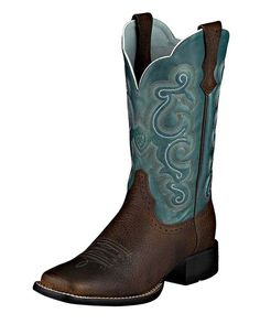 Brown + Sapphire Blue Cowboy Boots | http://www.countryoutfitter.com/products/16261-womens-quickdraw-11-boot-brown-oiled-rowdy-sapphire-blue #squaretoeboots