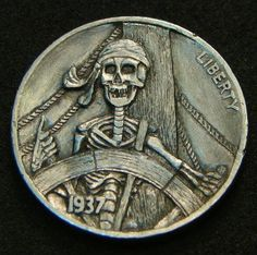 "Hobo Nickel ""100 Years Before the Mast"" Pirate Skeleton Skull Howard Thomas"