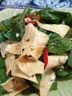 Mint leaves salad with Tofu skin