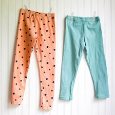 I had so much fun last week letting you guess which of the leggings above were sewn with the serger and coverstitch and which ones I made entirely on my home sewing machine. Well here's the answer: the orange leggings on the left with blackberries are the 'fancy' ones that I sewed with my serger and